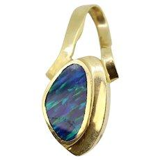 14k Yellow Gold Blue Mosaic Opal Inlay Pendant