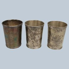 Set of 3 Harry McCord Sterling Mint Julep Cups - Monogrammed