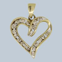 ZEI 10K Yellow Gold 1ctw Champagne Diamond Heart Pendant