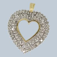 10k Yellow Gold 2ctw Round/Baguette Diamond Cluster Heart Pendant