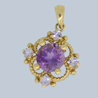 14k Yellow Gold Round Purple Stone Pendant