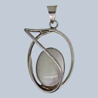 Sterling Silver Large Oval Mother of Pearl Pendant