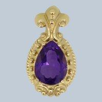 14k Yellow Gold Pear Shaped Purple Stone Fleur De Lis Pendant