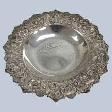 "Antique S. Kirk & Son 227 11"" Sterling Silver Repousse Bowl/Dish"