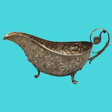 Sterling Silver Repousse Footed Gravy Boat