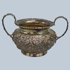 Baltimore Silver Co. Sterling Repousse Sugar Bowl with Handles