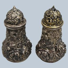 Stieff Repousse Sterling Silver Salt and Pepper Shakers