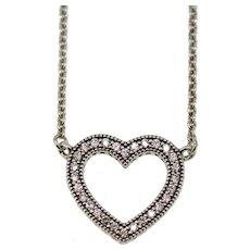 """Pandora ALE Sterling Silver Loving Hearts CZ Necklace - 590534CZ 15-17.5"""""""