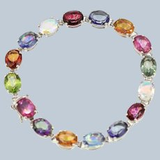 STS Sterling Silver Multicolored Gemstone Tennis Bracelet - 8 1/4""