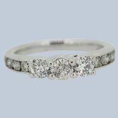 "Sweet 10kt White Gold 1ct Diamond ""Past Present Future"" Engagement Ring - Sz 4.5"