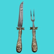 Stieff Rose Sterling Handle Stainless Steel Carving Set