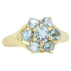Sweet 10k Yellow Gold Round Blue Topaz Flower Cocktail Ring - Size 7