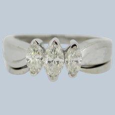 Sweet 14kt White Gold Marquise Diamond Wedding Set - Size 6.75