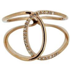 Sweet 14k Rose Gold Diamond Open-Work Bypass Ring - Size 8.25