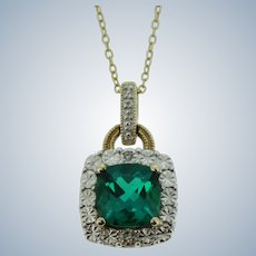 """Sweet Gold-Tone Sterling Silver Emerald and Diamond Cut Necklace - 19"""""""