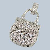 Small 10K White Gold Diamond Purse Charm/Pendant