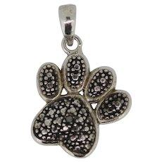 Sterling Silver Small Dog Paw Print Charm Pendant