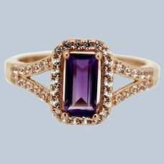 Beautiful 10K Rose Gold Purple/Clear CZ Cocktail Ring - 6.75