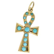 18k Yellow Gold Ankh Pendant with round Turquoise