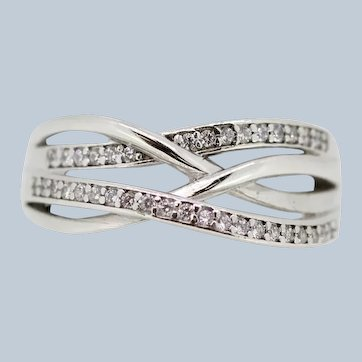 Sterling Silver CZ Twist Crossover Ring - Size 8