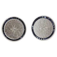 Men's 14k White Gold Diamond and Cabochon Sapphire Cufflinks