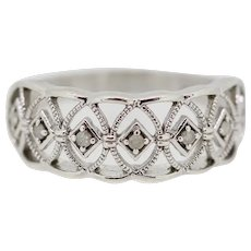 Sterling Silver Criss Cross Openwork CZ Band Ring - Size 8