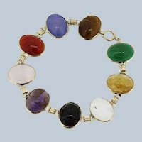"7 3/4"" 10k Yellow Gold Multicolored Scarab Bracelet"