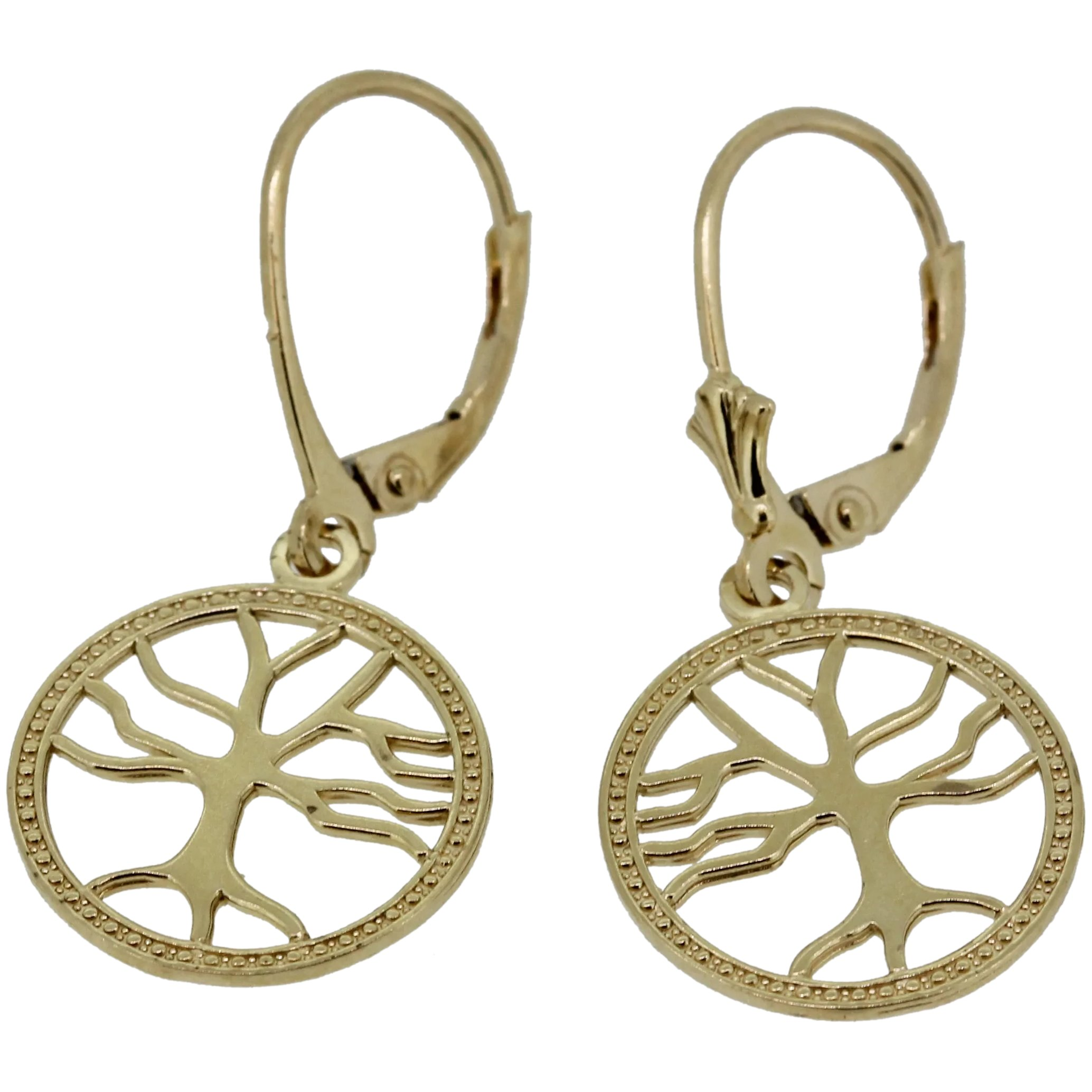 14k Yellow Gold Tree Of Life Dangle Earrings