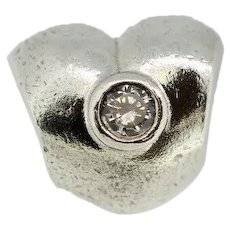 Pandora ALE Sterling Silver Puffy Sparkling Heart Charm - 790134CZ