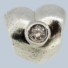 Pandora ALE Sterling Silver Puffy Sparkling Heart Charm - 790134CZ