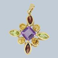 14k Yellow Gold Colored Stone Cross Pendant - Citrine, Amethyst, Garnet, Peridot