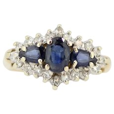 Sweet 14k Yellow Gold Diamond and Blue Stone Cocktail Ring - Size 7