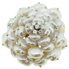 Beautiful 14k Gold Freshwater Pearl and Diamond Cluster Brooch/Pin