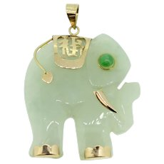 Detailed 14k Yellow Gold/Carved Light Green Jade Elephant Pendant