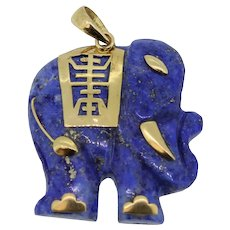 Detailed 14k Yellow Gold/Carved Blue Jade Elephant Pendant