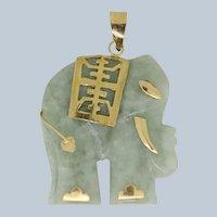 Detailed 14k Yellow Gold/Carved Light Green/White Jade Elephant Pendant