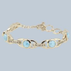 Sterling Silver Round Turquoise/CZ Link Bracelet - 7 3/4""