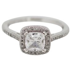 Sterling Silver Cushion/Round CZ Cluster Ring - Size 7.25