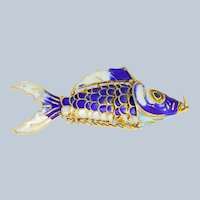 Beautiful Gold Plated/Colored Enamel Moving Fish Pendant