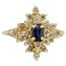 14k Yellow Gold Round Diamond Oval Blue Sapphire Cocktail Ring - Size 6