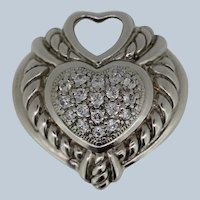 Sterling Silver Puffy Heart Pendant with CZ's
