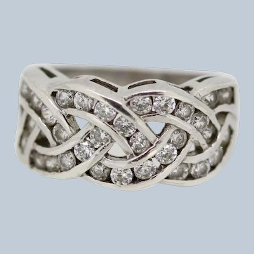 Sterling Silver Round CZ Crossover Ring - Size 6.25