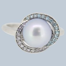 Sweet Twisted Design Sterling Silver Blue Pearl Ring - Size 9.75