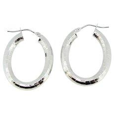 14k White Gold Disco Ball Style Hoop Earrings