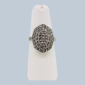 Sterling Silver Pyramid Style Marcasite Cluster Ring - Size 7