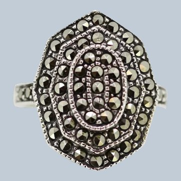 Sterling Silver Pyramid Style Marcasite Cluster Ring - Size 6