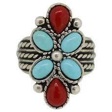 CDI Sterling Silver Turquoise/Coral Ring - Size 8
