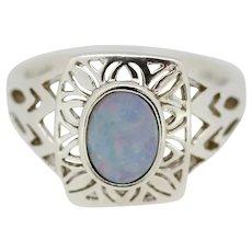 Sterling Silver Light Blue Opal Filigree Ring - Size 7.25