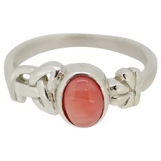 Ireland Sterling Silver Oval Coral Shamrock Ring - Size 6