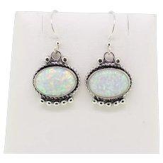 Sterling Silver Oval Opal Dangle Earrings